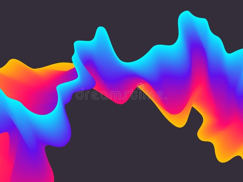 Fondo ondulado de la pendiente abstracta Efecto futurista de la mezcla de la pintura Diseño de la plantilla de las formas del líq fotos de archivo