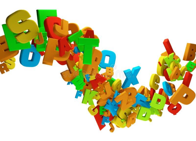 Fondo ondulado del flujo de las letras coloridas abstractas stock de ilustración