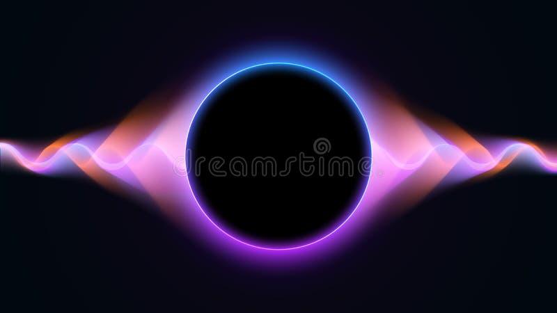 Fondo ondulado futurista con las partículas líquidas abstractas del flujo Superficie ondulada azul y p?rpura de la part?cula Vect libre illustration
