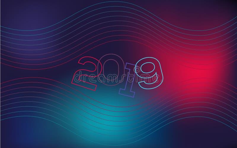 Fondo ondulado, geométrico, pendiente moderna, forma curvada, en tonalidades azules y rojas La cubierta del Año Nuevo para un sit stock de ilustración