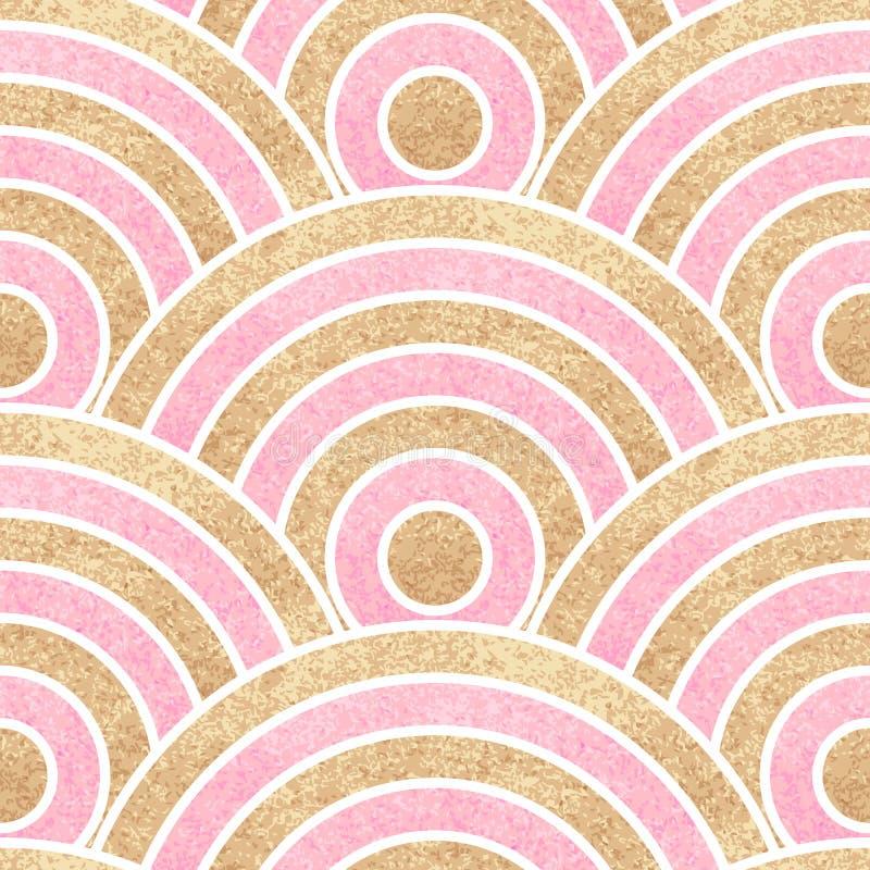 Fondo ondulado inconsútil Oro y rayas rosadas stock de ilustración