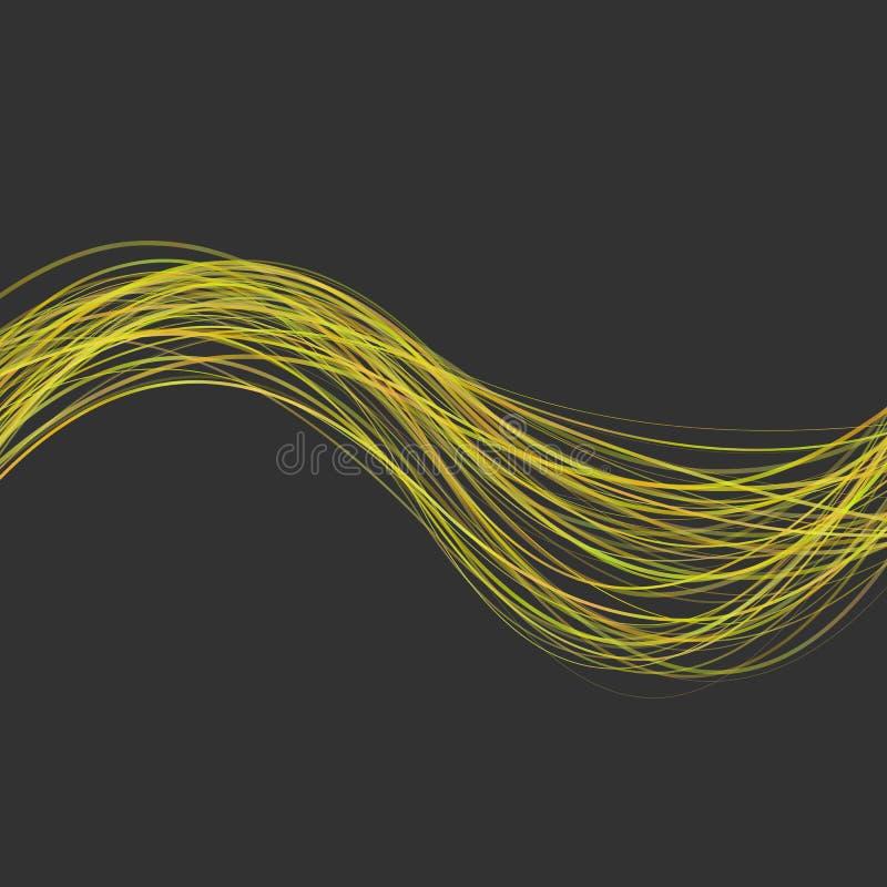 Fondo ondulado moderno abstracto de la raya - el diseño gráfico del amarillo curvó líneas de la onda en fondo negro libre illustration