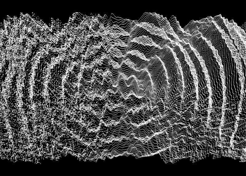 fondo ondulato 3D con effetto di ondulazione Illustrazione di vettore con la particella superficie di griglia 3D illustrazione vettoriale