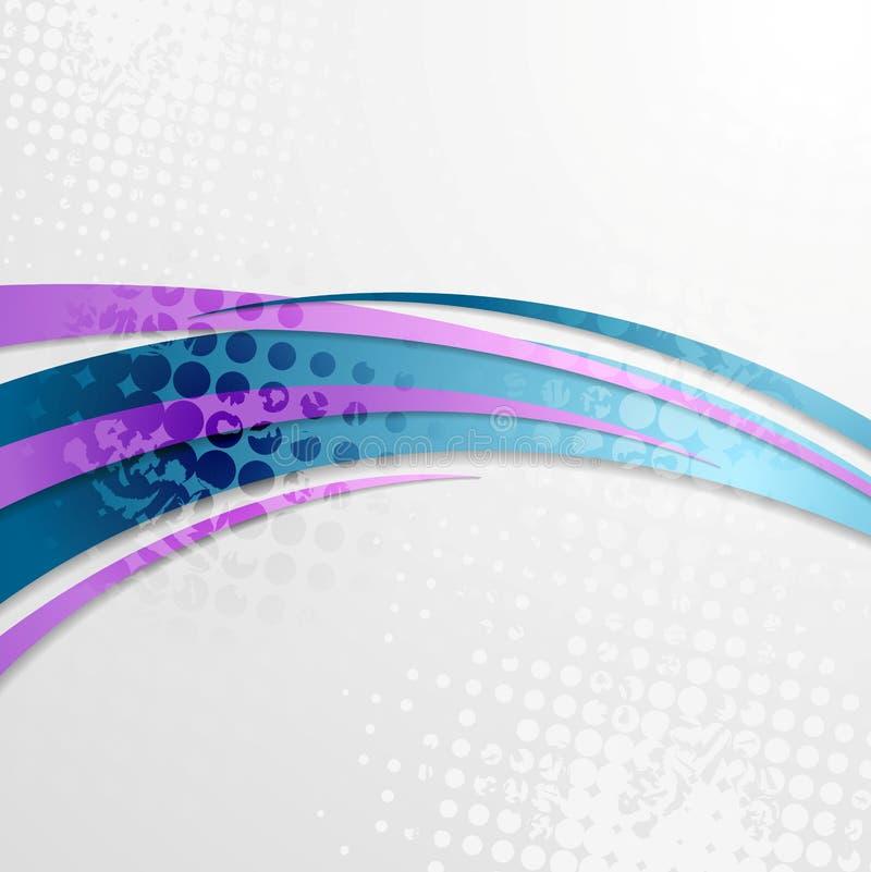 Fondo ondulato di lerciume porpora blu illustrazione di stock