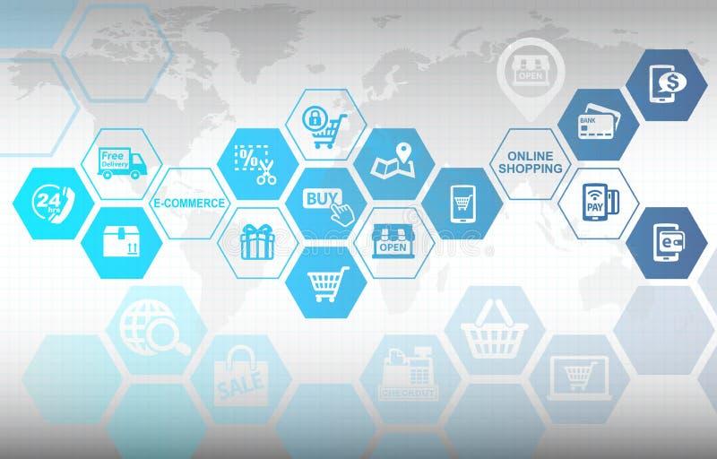 Fondo online di concetto di commercio elettronico di acquisto illustrazione di stock