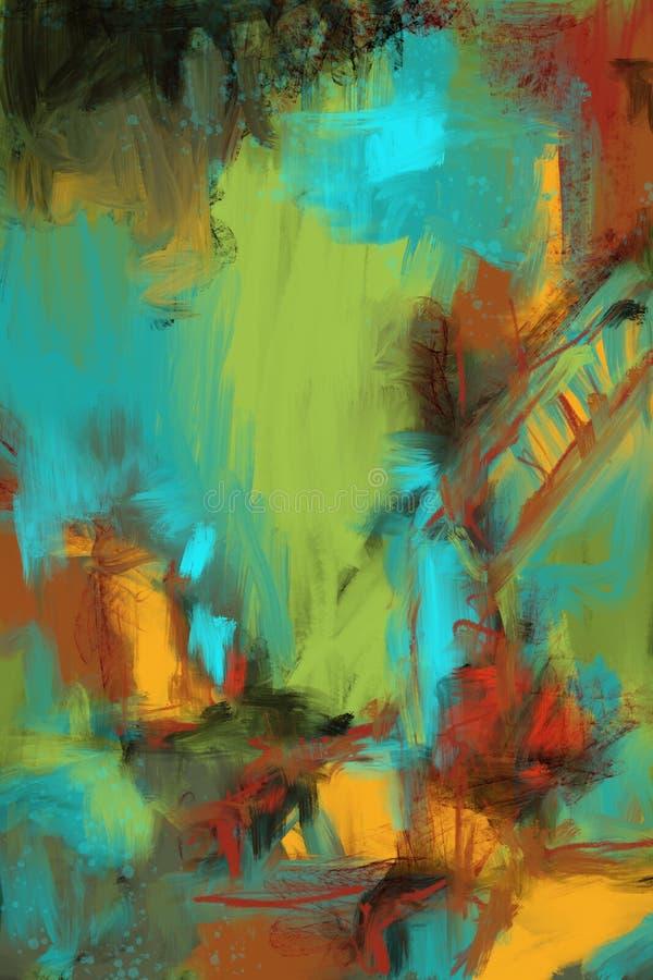 Fondo originale dipinto a mano e tirato di astrattismo, pittura moderna completa Lotti dei colpi della spazzola di pittura variop royalty illustrazione gratis