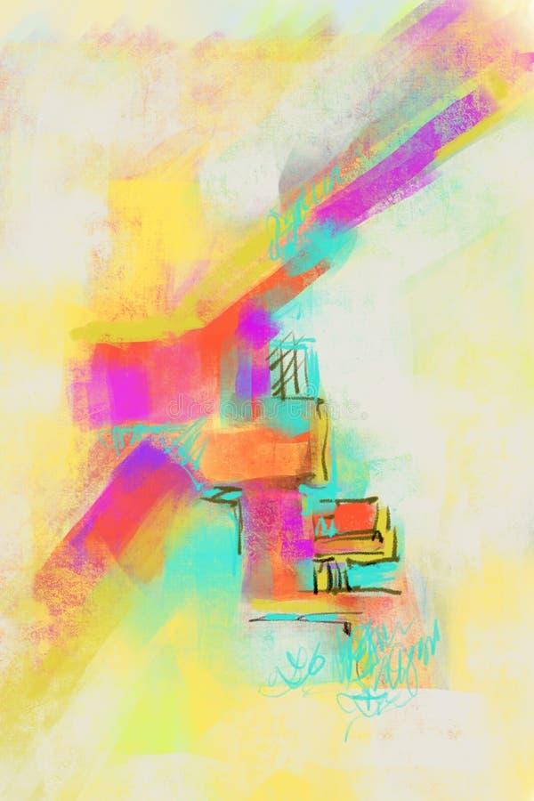 Fondo originale dipinto a mano e tirato di astrattismo, pittura moderna completa Lotti dei colpi della spazzola di pittura variop illustrazione di stock