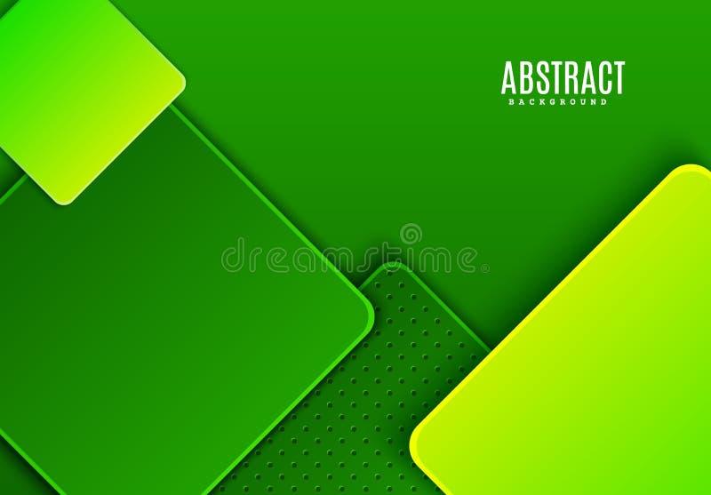 Fondo orizzontale astratto con il rombo scuro e verde chiaro di pendenza Modello geometrico del taglio di carta minimalista di ve illustrazione di stock