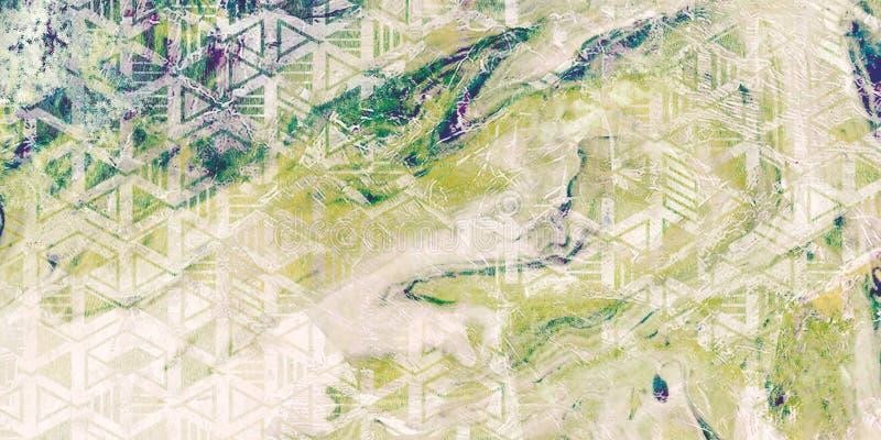 Fondo orizzontale creativo Sottragga le onde Bella struttura di marmo Superficie fatta a mano Colori blu e rosa Pitture miste a illustrazione vettoriale