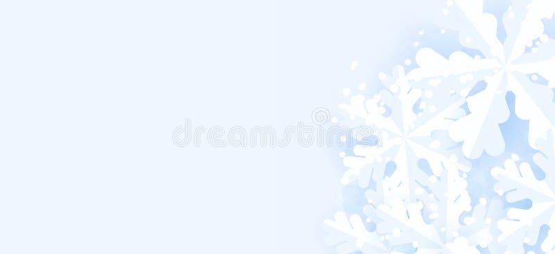 Fondo orizzontale di inverno blu con i fiocchi di neve per l'insegna e la spedizione di web illustrazione di stock