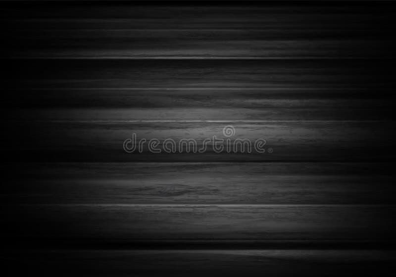 Fondo orizzontale di legno nel vettore Fondo nero con testo immagini stock