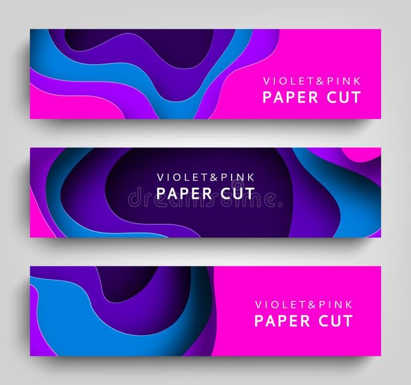 Fondo orizzontale stabilito di vettore delle insegne del taglio della carta L'arte di carta è colori viola e blu Modello quadrato illustrazione di stock