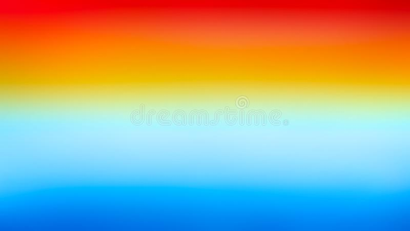 Fondo orizzontale variopinto di struttura dell'acquerello dell'insegna di pendenza luminosa blu rossa di giallo arancio illustrazione di stock