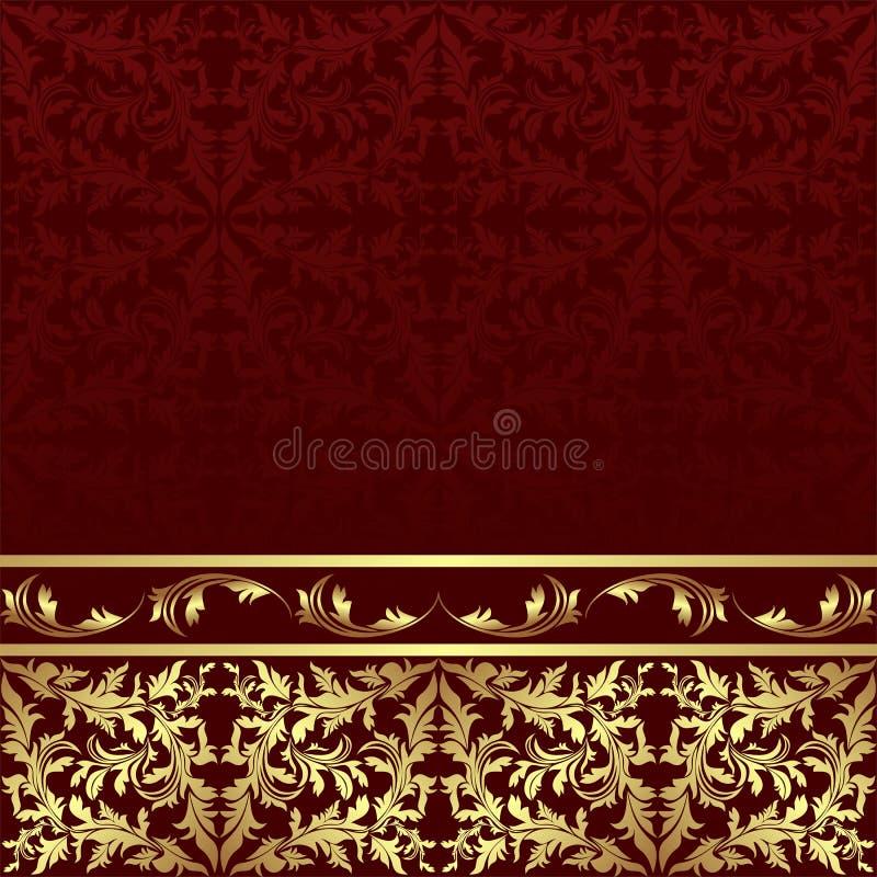 Fondo ornamental de lujo con la frontera floral de oro ilustración del vector