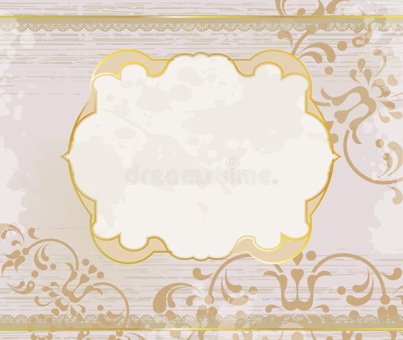 Fondo ornamental lúcido del marco del oro stock de ilustración