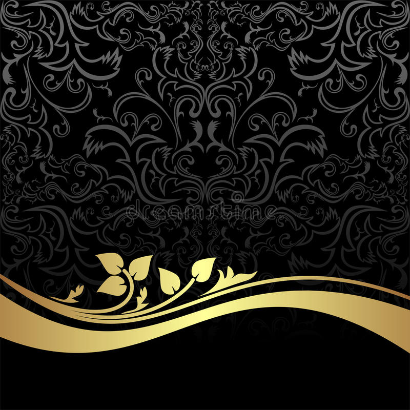 Fondo ornamentale del carbone di lusso con dorato  royalty illustrazione gratis