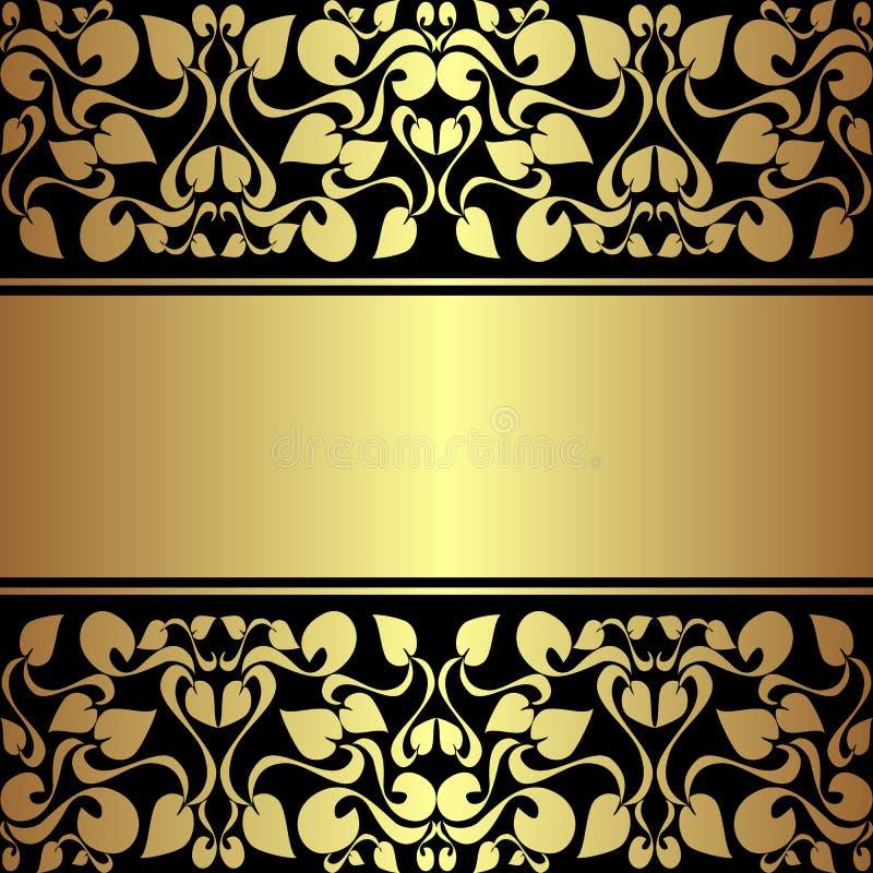 Fondo ornamentale di lusso con il nastro dorato. royalty illustrazione gratis