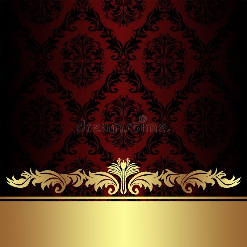 Fondo ornamentale rosso del damasco con il confine reale dorato illustrazione di stock