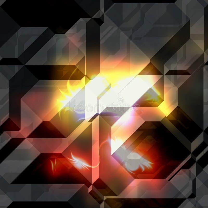 Fondo oscuro abstracto de bloques y de prismas con las llamas estilizadas libre illustration