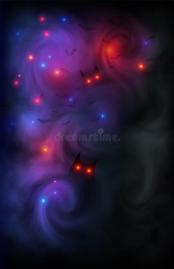 Fondo oscuro asustadizo con las siluetas mágicas de las luces, de los males de ojo, de los búhos y de los palos en niebla mística libre illustration