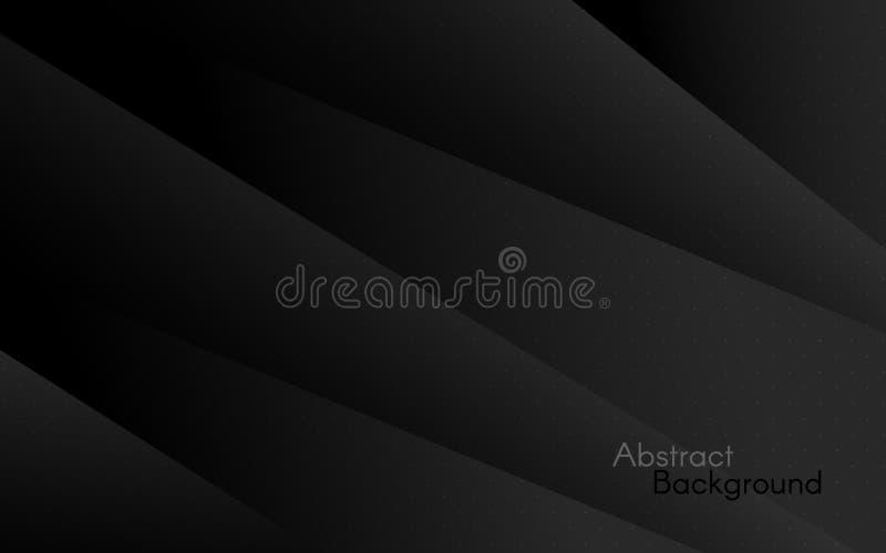 Fondo oscuro Capas negras abstractas Dise?o geom?trico moderno Plantilla simple para la web, anuncio, cartel, bandera ilustración del vector
