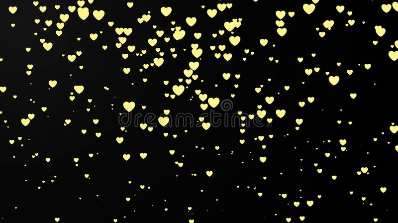 Fondo oscuro con confeti del corazón Tarjeta de felicitación del día de tarjetas del día de San Valentín Diseño del partido del f stock de ilustración