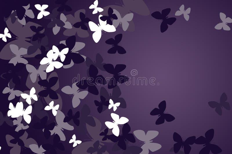 Fondo oscuro con las mariposas stock de ilustración