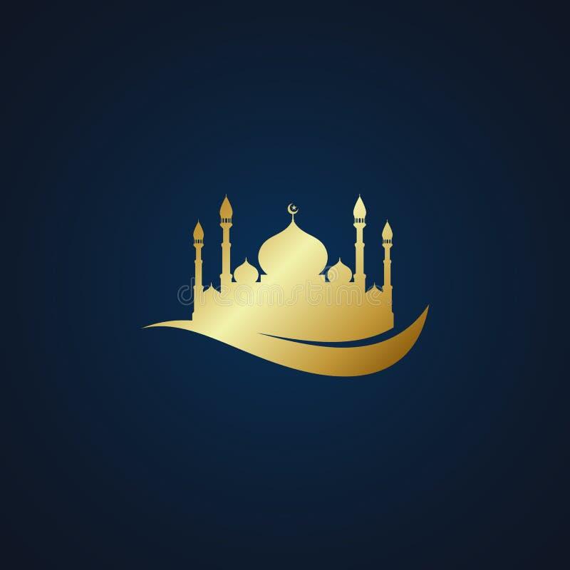 Fondo oscuro de la mezquita del icono del oro musulm?n moderno del vector stock de ilustración