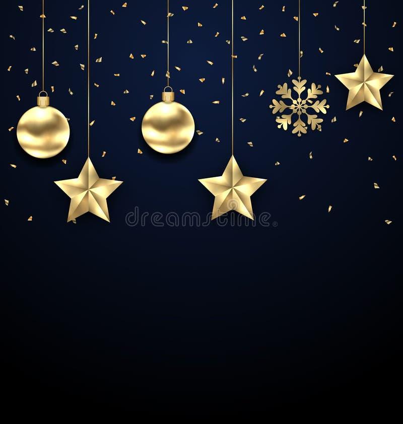 Fondo oscuro de la Navidad con las chucherías de oro, saludando la bandera ilustración del vector