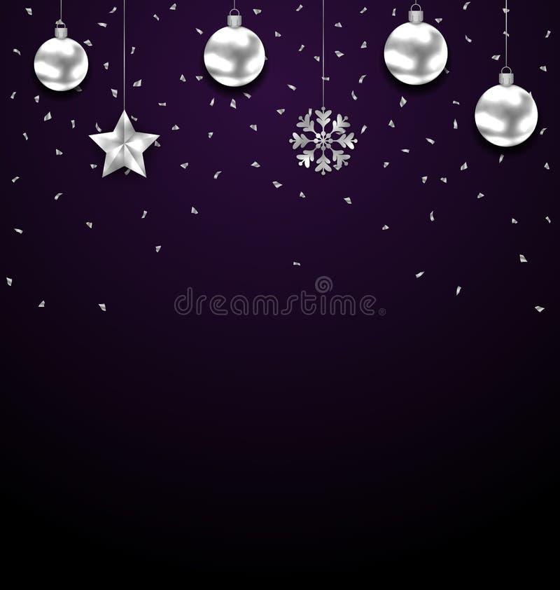 Fondo oscuro de la Navidad con las chucherías de plata, saludando la bandera de lujo libre illustration