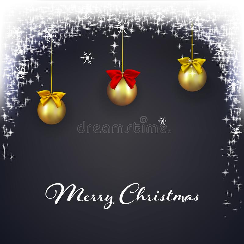 Fondo oscuro de la Navidad con las luces mágicas Fondo del brillo del día de fiesta que brilla intensamente con nieve que cae Bol libre illustration