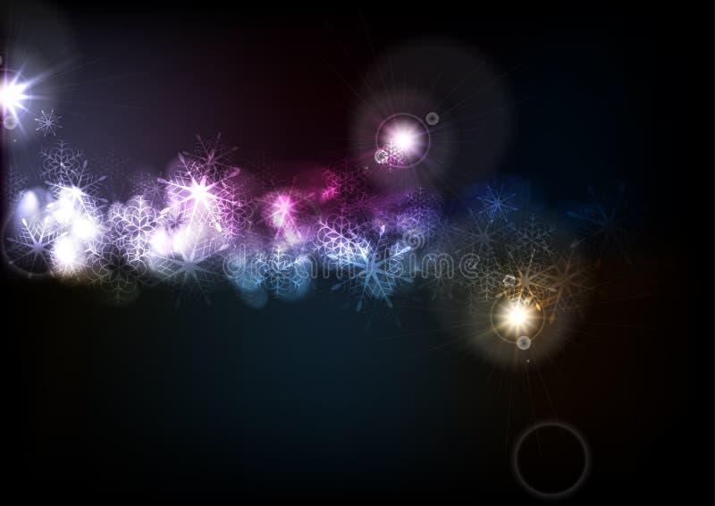 Fondo oscuro de los copos de nieve del Año Nuevo del efecto que brilla intensamente ilustración del vector