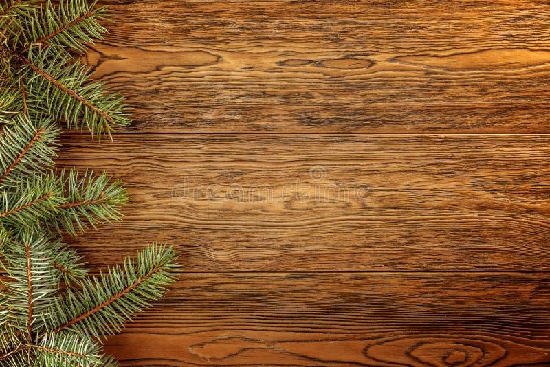 Fondo oscuro de madera para sus títulos de la Navidad Ramas de la picea azul fotos de archivo libres de regalías