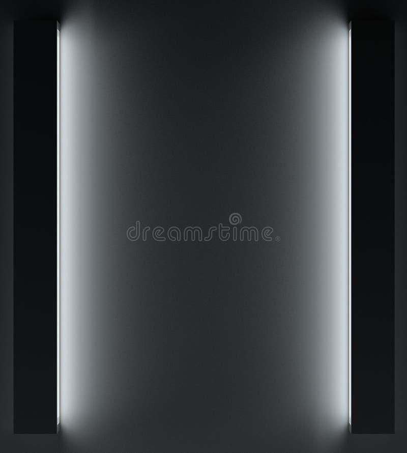 Fondo oscuro de un muro de cemento y de una luz en el lugar para la cartelera representación 3d ilustración del vector