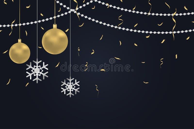 Fondo oscuro del Año Nuevo con las bolas de la Navidad del oro y copos de nieve de plata, confeti de oro y gotas argent libre illustration