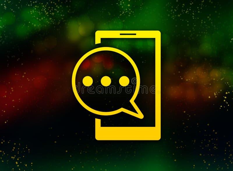 Fondo oscuro del bokeh del extracto del icono del teléfono del mensaje de texto stock de ilustración