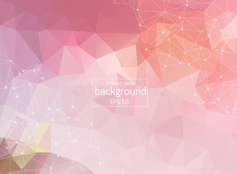 Fondo oscuro del espacio poligonal abstracto con los puntos y las líneas de conexión rojos | Ejemplo del vector EPS10 libre illustration