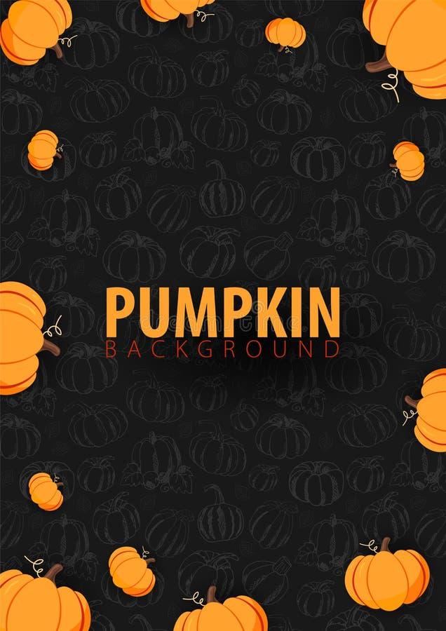 Fondo oscuro del otoño con la calabaza para la venta que hace compras, el cartel y el prospecto del marco, bandera del promo del  stock de ilustración