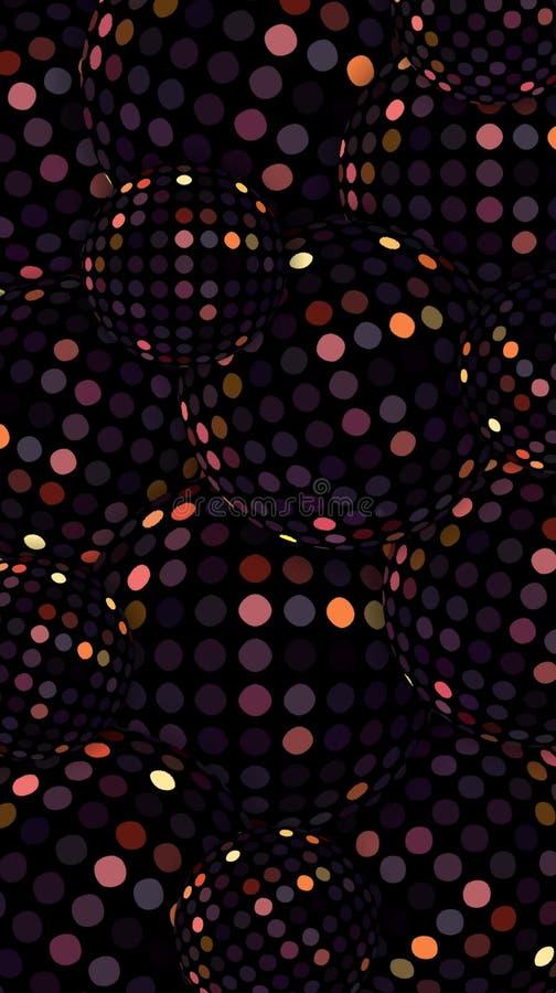 fondo oscuro del reflejo de las bolas de discoteca 3d Modelo de oro del brillo de las esferas de cristal de lujo de Borgoña stock de ilustración