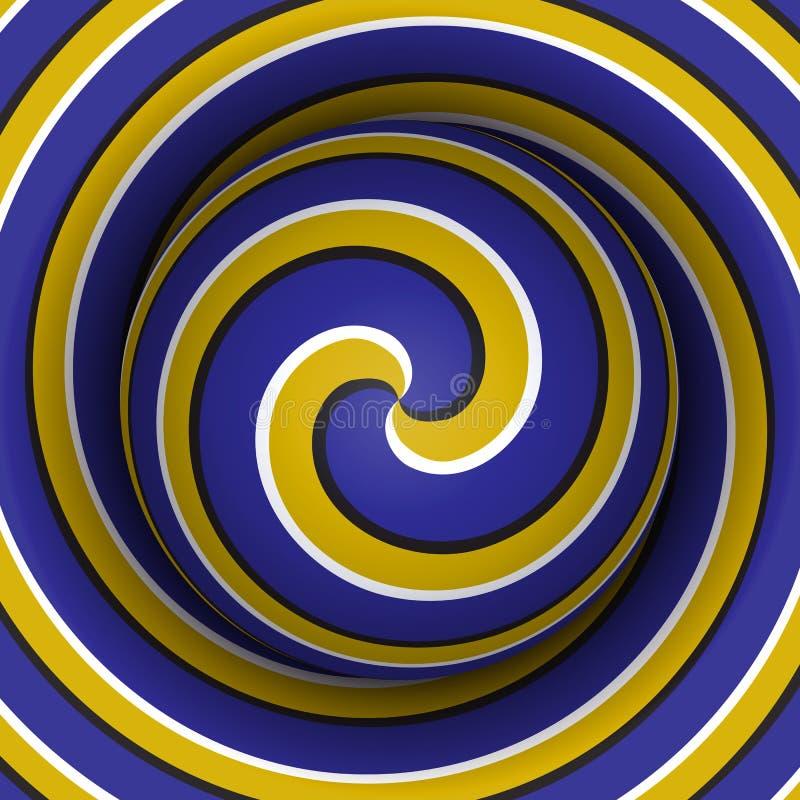 Fondo ottico di illusione di moto Sfera con un modello a spirale giallo blu sul fondo della doppia elica illustrazione vettoriale