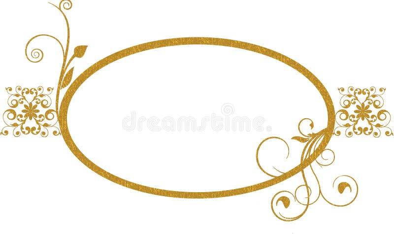 Fondo oval del marco del oro ilustración del vector