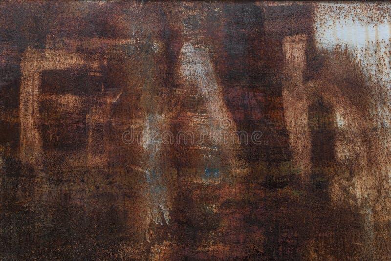 Fondo oxidado Hoja de metal oxidada vieja Pared aherrumbrada roja del garaje Textura del grunge de Brown imagenes de archivo