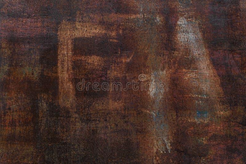 Fondo oxidado Hoja de metal oxidada vieja Pared aherrumbrada roja del garaje Textura del grunge de Brown La inscripción es visibl foto de archivo