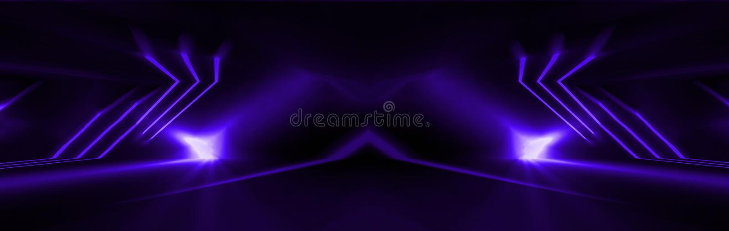 Fondo púrpura abstracto oscuro Luz de neón, rayos, azul de ultramar en la oscuridad stock de ilustración