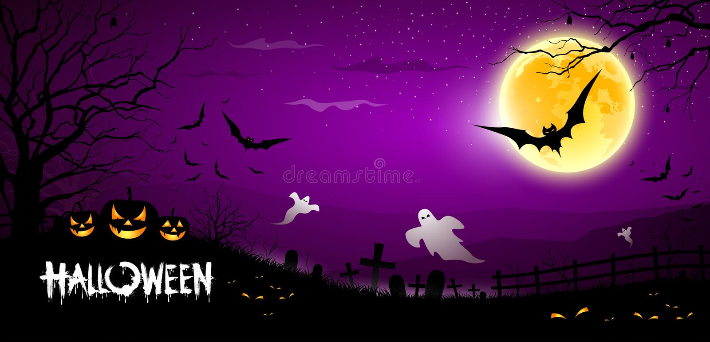 Fondo púrpura asustadizo del fantasma de Víspera de Todos los Santos stock de ilustración