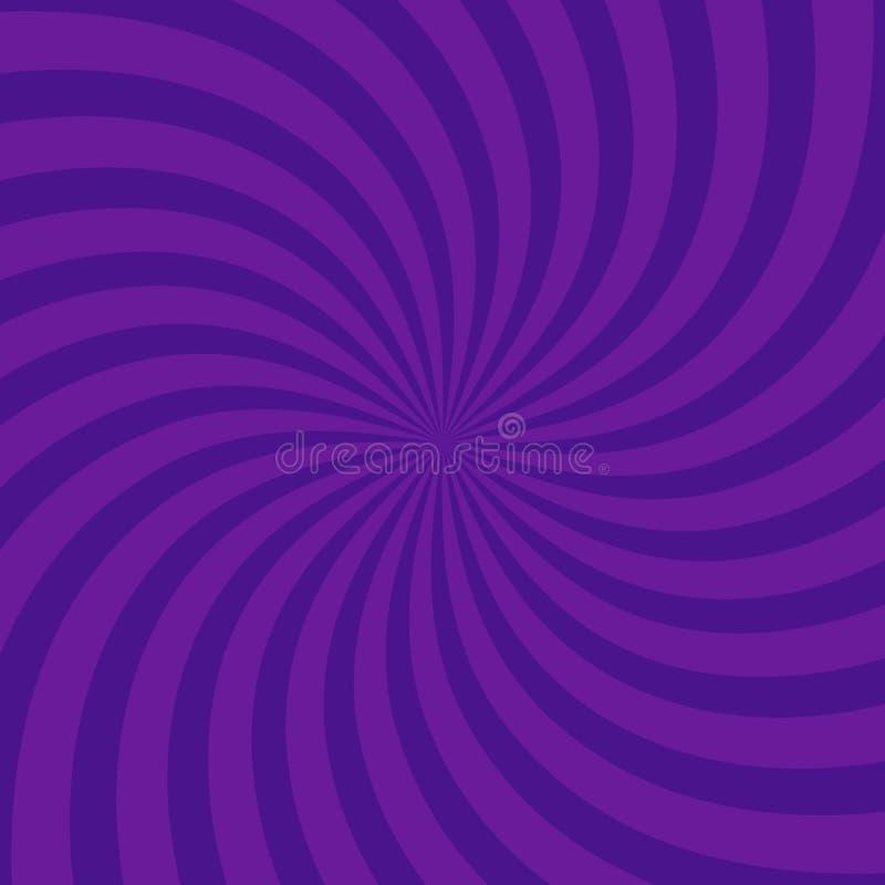 Fondo púrpura brillante radial del modelo que remolina Ejemplo del vector para el diseño del remolino Cuadrado del giro del espir stock de ilustración