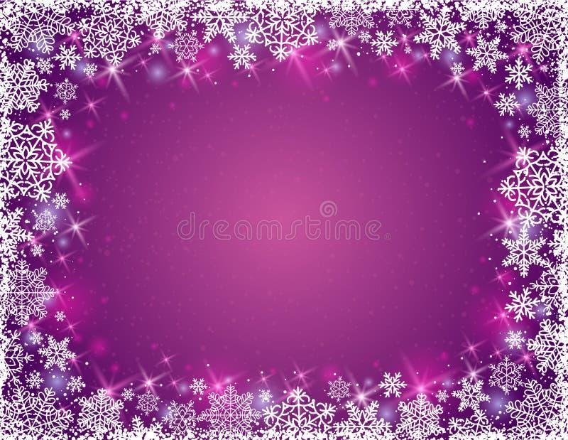 Fondo púrpura con el marco de copos de nieve, vector libre illustration