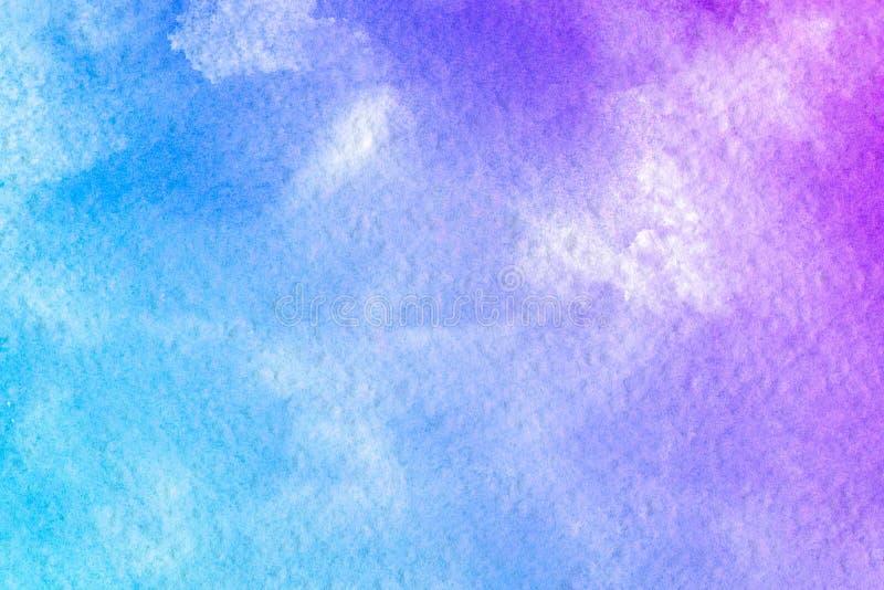 Fondo púrpura de la acuarela de la violeta azul rosada del extracto El color que salpica en el papel Es una mano dibujada foto de archivo
