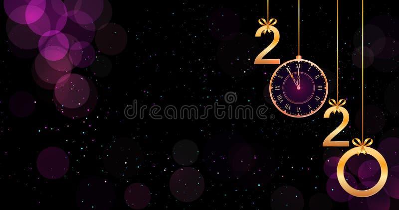 Fondo púrpura de la Feliz Año Nuevo 2020 con efecto del bokeh, números de oro colgantes, los arcos de la cinta y el reloj del vin ilustración del vector