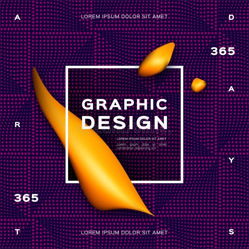 Fondo púrpura de la pendiente geométrica Formas amarillas flúidas, diseño geométrico líquido Fondo futurista para la página web libre illustration